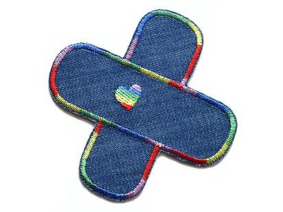 Bild: Hosenflicken Hosenpflaster Regenbogen, Jeansflicken mit Herz Bügelflicken