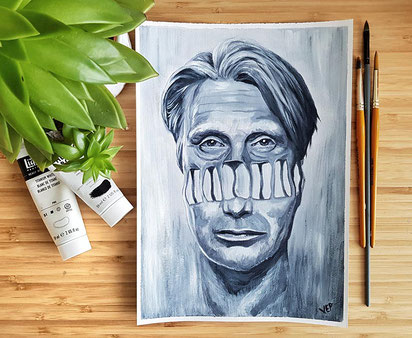 Mads Mikkelsen surreal portrait in acrylic on heavyweight canvas paper