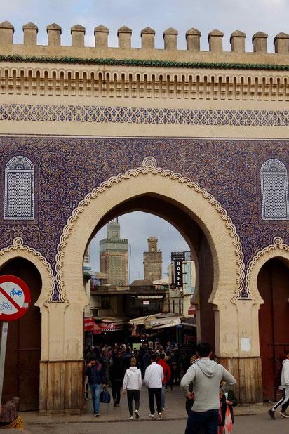 Fès, Marokko: das blaue Tor, Bab Boujloud