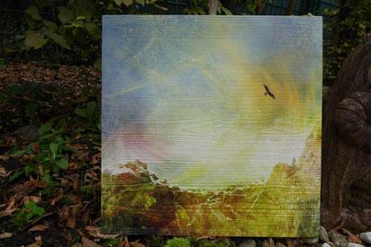 Adler, Druck auf Holz