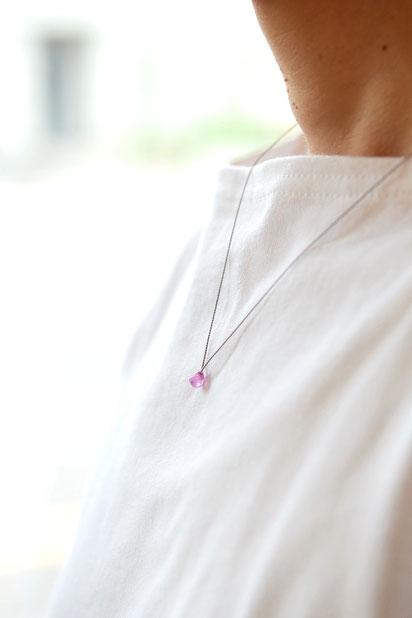 ピンクサファイア / シルクコードネックレス 11,000yen