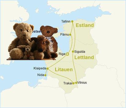 Kasimirs, Cäsars, Fredis und Kerls Reiseroute durchs Baltikum