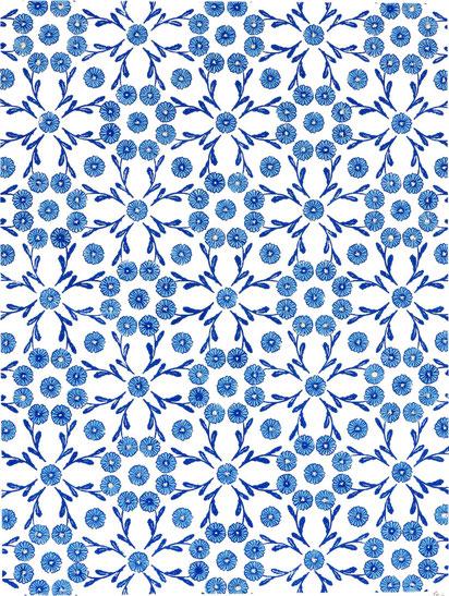 kitsc-paradise kp exposition encre de chine gravure tapisserie marguerite bleu porcelaine