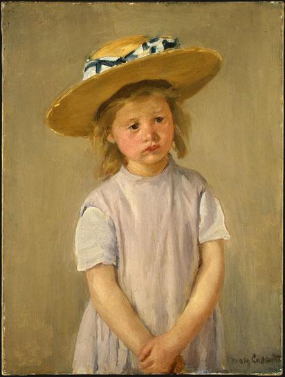 Peinture de Mary Cassat, Enfant au chapeau de paille, vers 1886