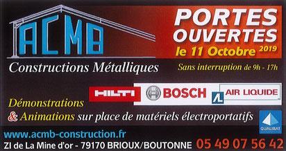 Affiche des portes ouvertes du 11 octobre 2019 d'ACMB, constructeur en charpente métallique à Brioux 79