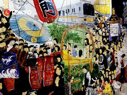 Mural painting ASAKUSA's entertainment, Tokyo tourism, 浅草駅, 浅草の壁画, 東京観光,
