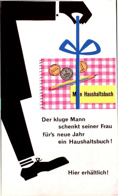 Haushaltsbuch der Sparkasse. Werbung der Sparkasse für ihre Haushaltsbuecher um 1965.