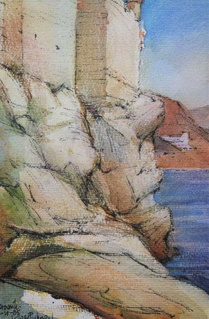 """te_koop_aangeboden_een_kleurrijk_kunstwerk_getiteld_""""kust_bij_dubrovnik""""_van_de_nederlandse_kunstenaar_klaas_pijlman_1917-2007"""