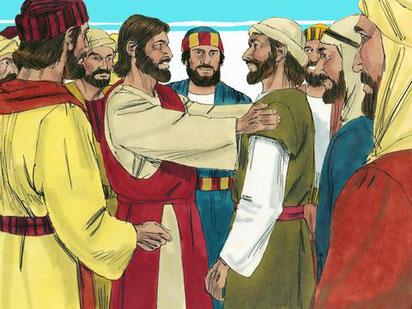 Jésus a appelé à sa suite Simon Pierre et son frère André, Jacques, fils de Zébédée, et son frère Jean, Philippe, Barthélémy, Thomas, Matthieu, Jacques, Jude appelé aussi Thaddée, Simon le Cananite et Judas l'Iscariote.