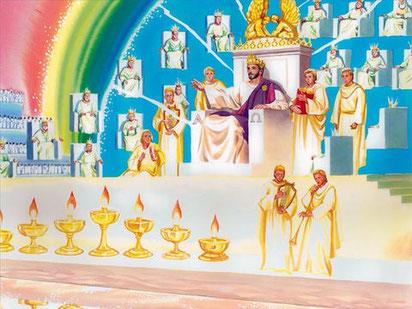 Autour du trône se trouvaient vingt-quatre trônes, et sur ces trônes vingt-quatre anciens étaient assis. Ils étaient habillés de vêtements blancs et portaient des couronnes d'or sur la tête.