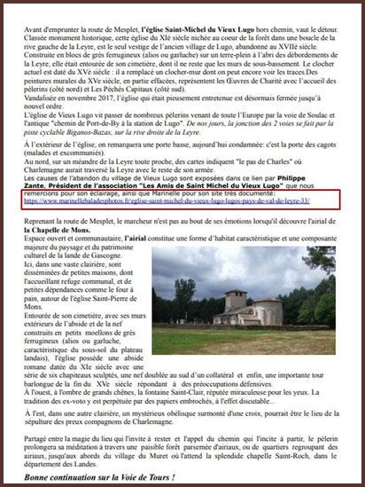 Page 8, voie Jacquaire de Tours en Gironde, Association des Amis de St Jacques en Aquitaine