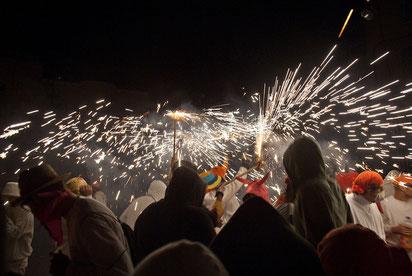 Fiestas del Pilar en Fraga, Correfocs. Foto gracias a clubrural.com