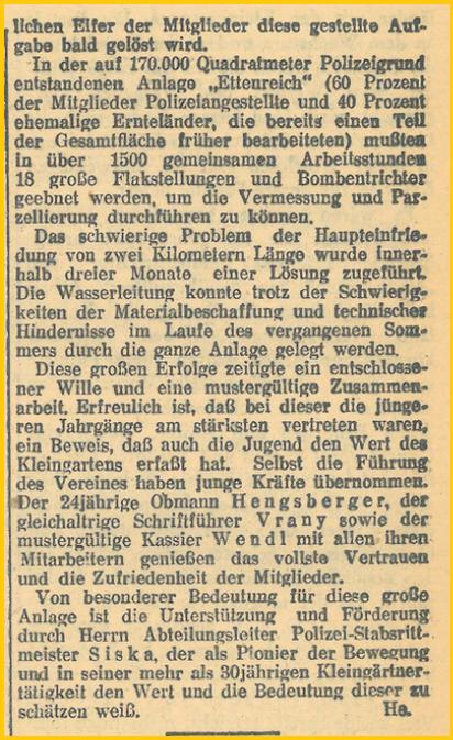 Medienbericht, Der Kleingärtner, Wien, 1. Mai 1948, Seite 2, KGV Ettenreich