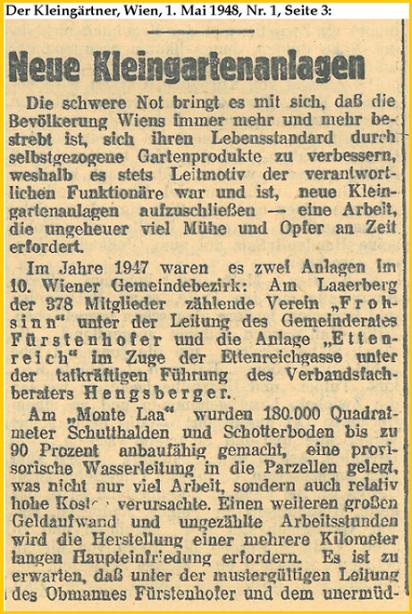Medienbericht, Der Kleingärtner, Wien, 1. Mai 1948, Seite 1, KGV Ettenreich