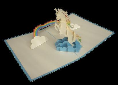 Carte pop-up licorne 3D - carte kirigami licorne