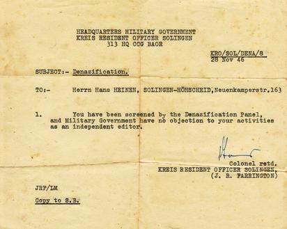 Historisches Dokument: Denazification 1946