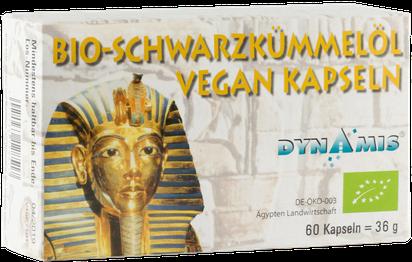 BIO Schwarzkümmelöl Kapseln VEGAN von Firma Dynamis Gesundheitsprodukte GmbH. Hergestellt in Deutschland aus ägyptischem kaltgepressten Öl.