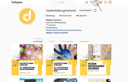Screenshot instagram Funktion einen Beitrag direkt von einem Pc posten mit klick auf das plus Zeichen