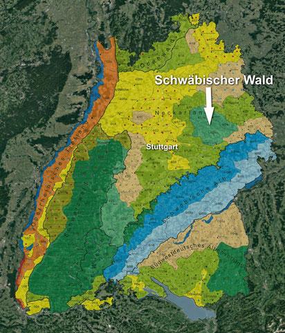 Quellen: FVA / ForstBW, unterlegt durch Satellitenfoto Google Earth