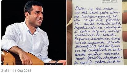 Selahattin Demirtas brev fra fængselscellen
