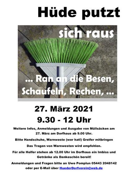 Info-Plakat zur Frühjahrsputzaktion am 27.3.21 um 9.30 Uhr in Hüde mit Treffpunkt Dorfplatz Hüde