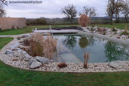 von SchwimmteichFürDich gebauter Teich von der Planung bis zur Bepflanzung, Teich mit 3 x 6 m Badezone, Holzquerverbau