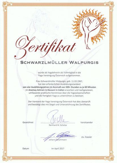Zertifikat 500+Mitglied der Yoga Vereinigung Austria