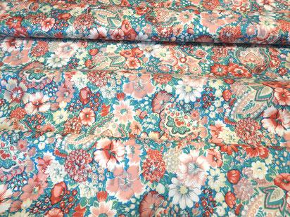 Bedruckter Baumwollsatin, Blumen rot-grü