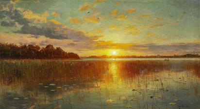 ꧁ Peder Mørk Mønsted, Sunset over a Danish Fjord, 1901 ꧂