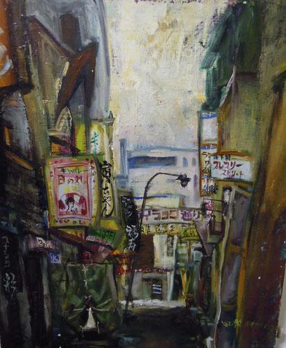 ススキノ すすきの絵画     路地 薄野スケッチ 油彩画