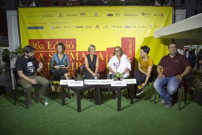 Foto de @Lasetmana (D'esquerra a dreta: Sergi Viciana, Núria Cadenes, Mar Bosc, Dolors Garcia i Cornellà, i Ricard Ruiz Garzón)