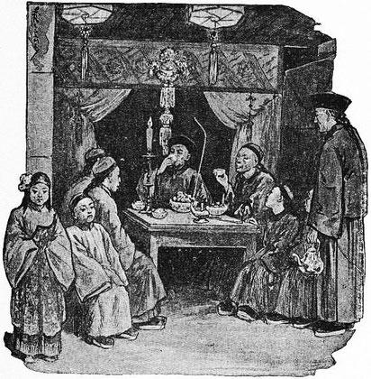 Ling-Tien-Lo et ses intimes. René de Pont-Jest : Le Fleuve des Perles (L'Araignée-Rouge). Émile Dentu, Paris, 1889, 420 pages, 197 dessins par Félix Régamey.