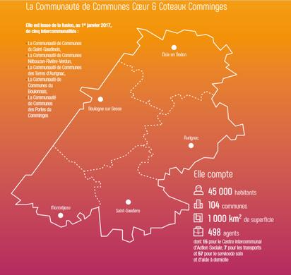 carte de la Communauté de Communes Coeur & Côteaux Comminges