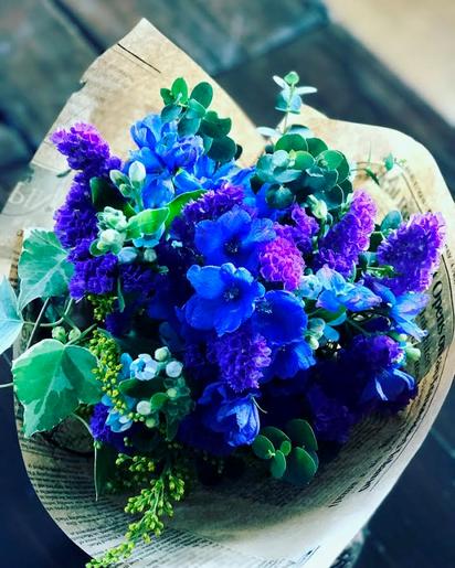4月 長野 飯田1dayレッスン「青と紫のナチュラルブーケ」