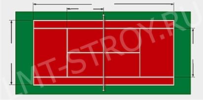 Размеры теннисного корта 23,77 х 10,97 (8,23) м