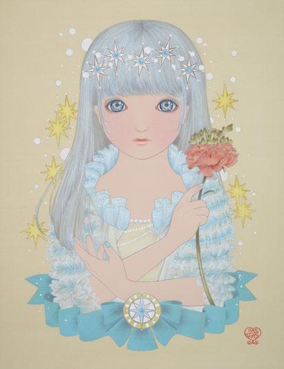 「雪の妖精」絹・岩絵具・水干絵具 特寸49x37.9cm