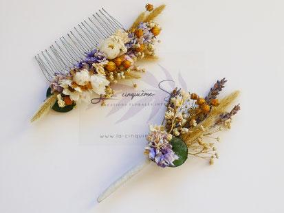 Coffret peigne mariée et sa boutonnière assortie en fleurs séchées et stabilisées, par La cinquieme saison.