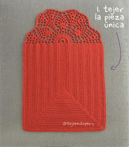 Bolso sobre o clutch calado tejido a crochet