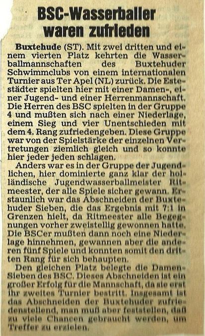 Turnier in Ter Apel (NL) 1978