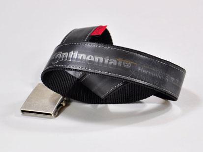 Gürtel Beltinger aus Fahrradschlauch und Gurtband mit Conti-Aufdruck - von Stef Fauser