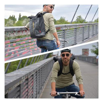 Ermöglicht auf dem Fahrrad maximale Bewegungsfreiheit der Arme: Rucksack Carringer aus Fahrradschlauch und Cordura von Stef Fauser Design. Foto: Stef Fauser Design