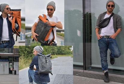 Rucksäcke, Bum Bags und Umhängetaschen beim Fotoshooting von Stef Fauser Design.