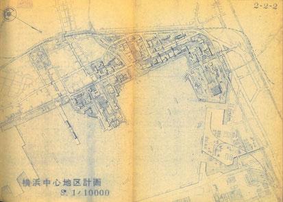 横浜市中心地区計画部分図 出典:環境開発センター『横浜市将来計画に関する基礎調査報告書』昭和39年12月5日添付資料