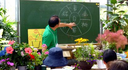 あふれる教材を前に、お花のカラー・コーディネートの講義
