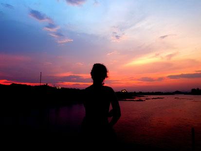 Sonnenuntergang bei Bai Dinh Pagoda
