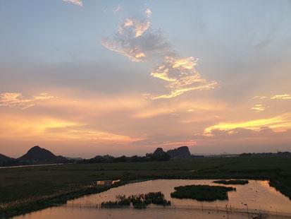 Sonnenuntergang über Tam Coc