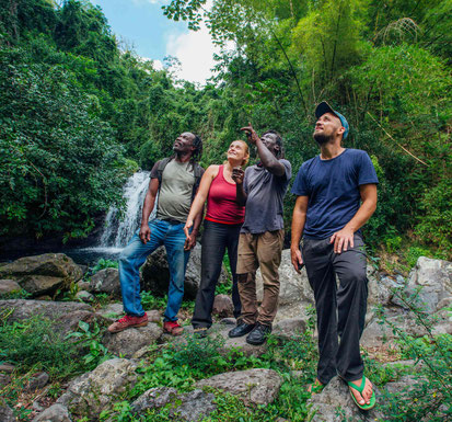 IRIELAB Team and Locals enjoy the view of Jamaican nature near hidden waterfall