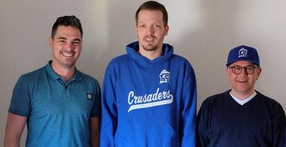 Die neue Führung der Crusaders (von links nach rechts): Markus Wiedemann (Abteilungsleiter), Sebastian Wimmer (Kassenwart) und Thomas Heinzel (2. Stellvertreter)