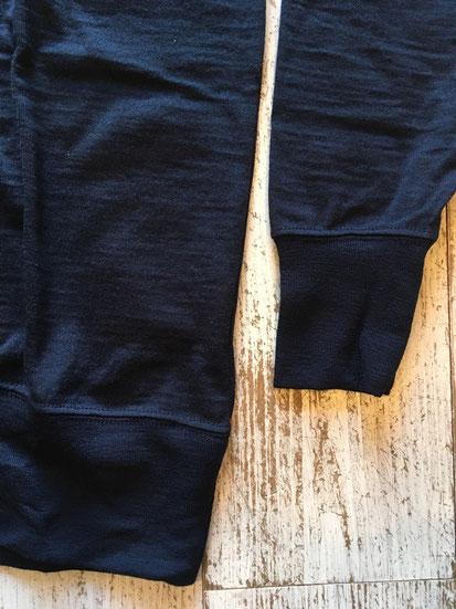 袖&裾のリブ部分拡大
