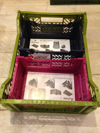 MIDI BOXの中にMINI BOXが2個バッチリと収まるから仕分けに便利!!
